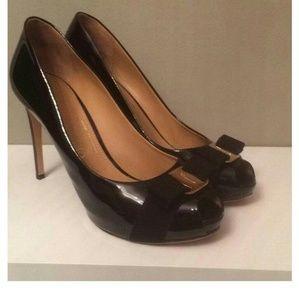 Salvatore Ferragamo Black Peep Toe Bow Pumps